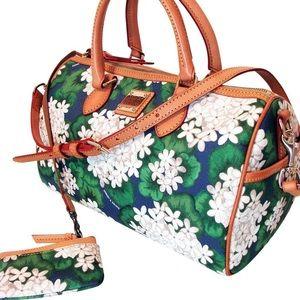 Dooney & Bourke Hydrangea Barrel satchel wristlet